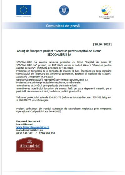 """Anunţ de începere proiect """"Granturi pentru capital de lucru"""" SEDCOMLIBRIS SA"""