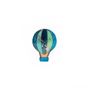 Broșă Lemn Balon Albastru