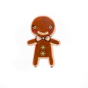 Broșă LEMN Omul Prăjiturică