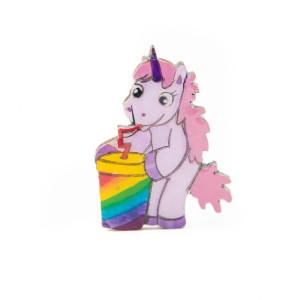 Broșă Lemn Unicorn - Drink the RAINBOW