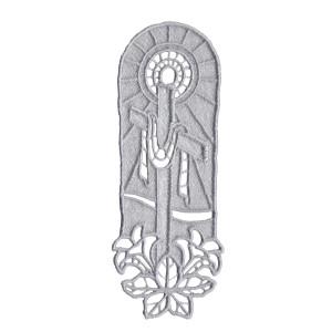 Semn de carte brodat LaRue, cruce și crini, gri