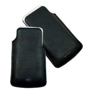 Husă de telefon iPhone din piele MANUFAKTUR negru