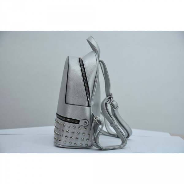 Rucsac damă Lamonza Xena argintiu 26x11x31 cm
