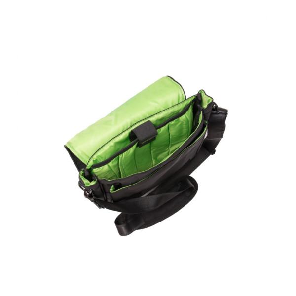 Geantă de umăr Crest Negru cu verde