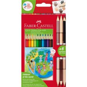 Creioane colorate 12+3 culori Children Of The World Faber-Castell