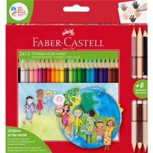 Creioane colorate 24+3 culori Children Of The World Faber-Castell