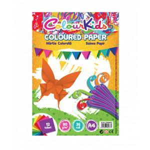 Hârtie A4 80gr 36 coli , 12 culori, Colour Kids