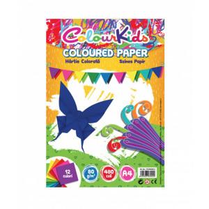 Hârtie A4 80gr 480 coli, 12 culori, Colour Kids