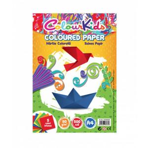 Hârtie A4 80gr 500 coli, 5 culori intense, Colour Kids