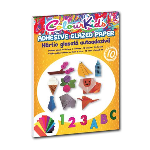 Hârtie glasată Colour KIDS A4 10 culori Adezivă