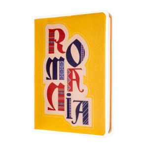 Agendă nedatată de buzunar, România, fundal galben, foi albe