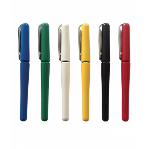 Blister Stilou școlar, peniță oțel inoxidabil, accesorii placate cu crom, 6 culori