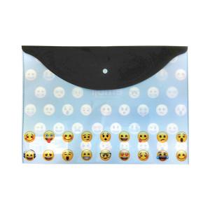 Mapă plastic cu buton A4, Emoji Clasic
