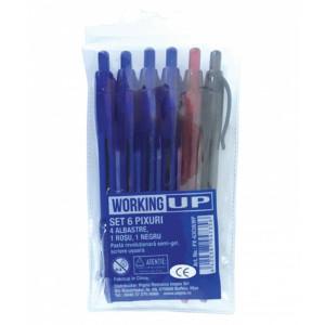 Set 6 Pixuri, 4 Albastre, 1 Albastru, 1 Negru, W-UP
