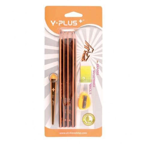 Creioane HB 12/set simplu cu radieră și ascuțitoare RAY