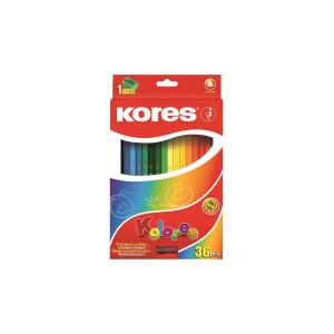 Creioane Colorate 36 Culori/Set Cu Ascuțitoare, Triunghiulare, Kores
