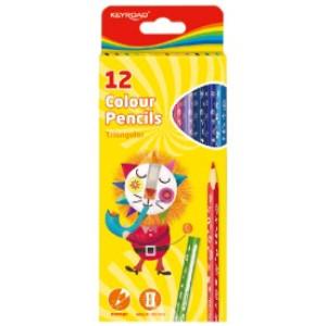 Creioane Lungi 12 Culori KEYROAD, Triunghiulare, KR971273