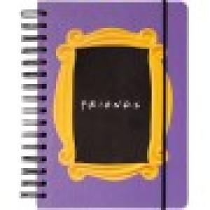 Agendă FRIENDS, A5, 90 de file, spirală exterioară, cu elastic și buzunar interior, produs licențiat