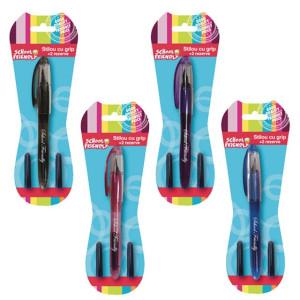 Stilou Basic cu Grip+2 rezerve F/B 4 culori