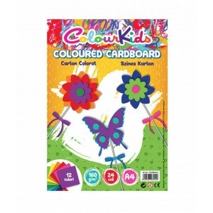 Carton A4 160gr 24 coli, 12 culori, Colour Kids