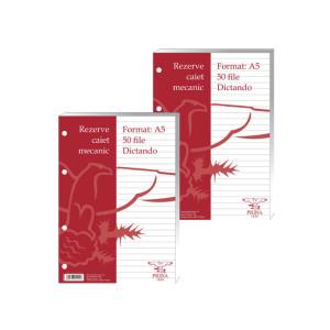 Rezerve caiet mecanic A5 clasic, dictando 50file alb