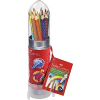 Set Cadou Rachetă 8 Creioane Colorate Grip și Ascuțitoare