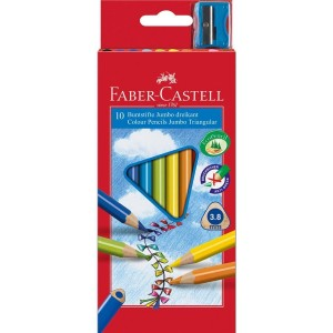 Creioane Colorate Jumbo + Ascuțitoare 10 culori / cutie carton