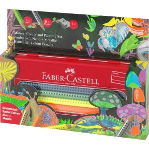 Set Cadou 12 Culori Metalizate și Neon Jumbo Grip Faber-Castell
