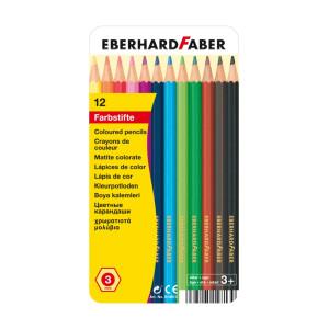 Creioane colorate 12 culori cutie metal Eberhard Faber