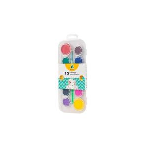 Acuarele 12 culori + pensulă Adel