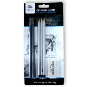 Creioane grafit blister 5 buc 1 radieră 1 ascuțitoare
