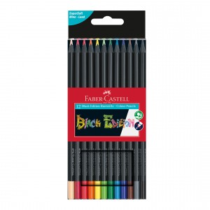 Creioane colorate triunghiulare cutie carton 12 culori Black Edition Faber Castell