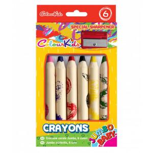 Creioane Cerate BABY Jumbo set 12 buc cu ascuțitoare Colour KIDS