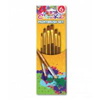 Pensule 6/set vârf tesit/plat nr. 2/4/6/8/10/12 Colour Kids