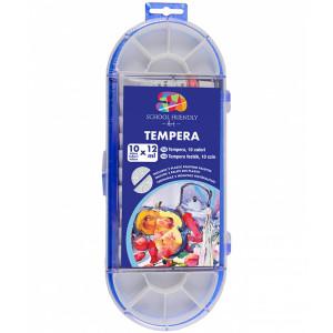 Tempera 10 culori cutie plastic cu pensulă 12 ml SFART