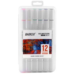 Markere artiști BAOKE 2 vârfuri 4-1mm, ulei, 12 culori, mixt