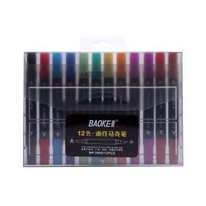 Markere artiști BAOKE 2 vârfuri 5-1mm, ulei, 12 culori, mixt