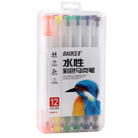 Markere artiști BAOKE 2 vârfuri 6-1mm, pe baza de apa, 12 culori, mixt