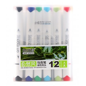 Markere artiști BAOKE 2 vârfuri 6-1mm, ulei, 12 culori, mixt