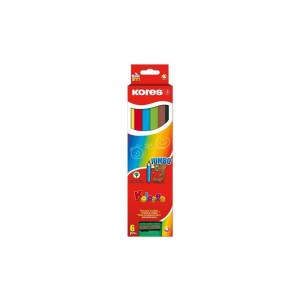 Creioane Colorate 6 Culori/Set Cu Ascuțitoare, Triunghiulare, Jumbo Kores
