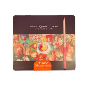 Creioane 24 culori, casetă metal Marco FineArt