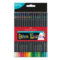 Creioane colorate triunghiulare cutie carton 36 culori Black Edition Faber Castell