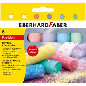 Cretă 6 culori glitter desen asfalt Eberhard Faber