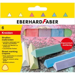 Cretă 6 culori triunghiulare desen asfalt Eberhard Faber