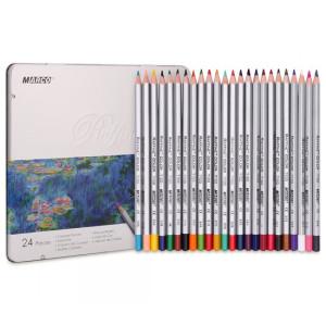 Creioane 24 culori, casetă metal, Marco 7100