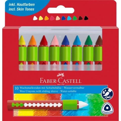 Creioane Cerate Solubile cu Protecție 10 Culori Faber-Castell
