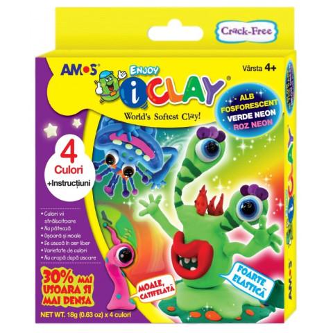 Set Plastilină iClay  IC18P4S 4 cutiix18g/set+ accesorii  Culori Neon Amos