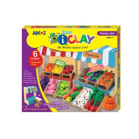 Set Plastilină iClay 6 culorix18g cu accesorii MarketKit IC18P6MK Amos