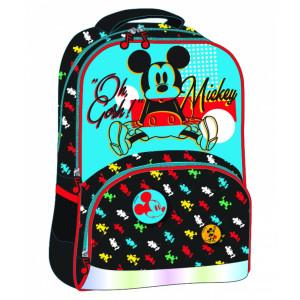 Ghiozdan clasa 1/4, negru-multicolor Mickey Mouse