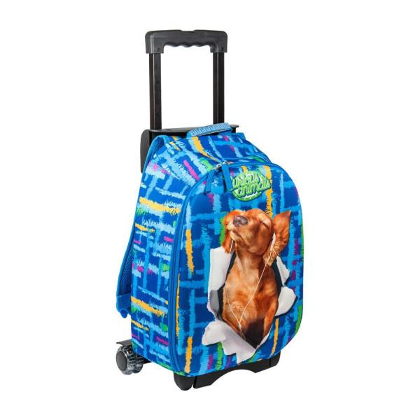 Ghiozdan Troler clasa 1/4, 3D, Albastru Câine